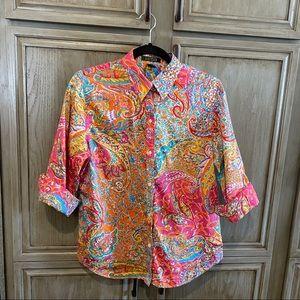 Lauren Ralph Lauren Pink Floral Button Up